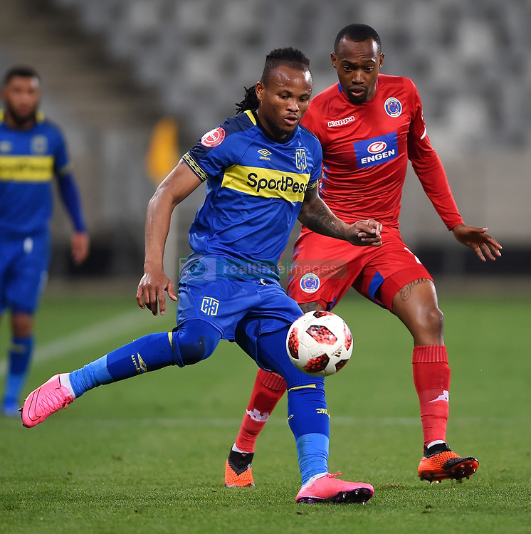 Cape Town-180804 Cape Town City defender Edmilson Dove challenged by Thabo Mnyamana of Supersport in the first game of the 2018/2019 season at Cape Town Stadium.photograph:Phando Jikelo/African News Agency/ANAr