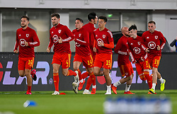 HELSINKI, FINLAND - Thursday, September 3, 2020: Wales Tom Lockyer, Ben Davies, Ethan Ampadu and Dylan Levitt during the pre-match warm-up before during the UEFA Nations League Group Stage League B Group 4 match between Finland and Wales at the Helsingin Olympiastadion. (Pic by Jussi Eskola/Propaganda)