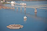 Baltimore Tall Ship Schooner Pride of Baltimore at the Francis Scott Key Bridge