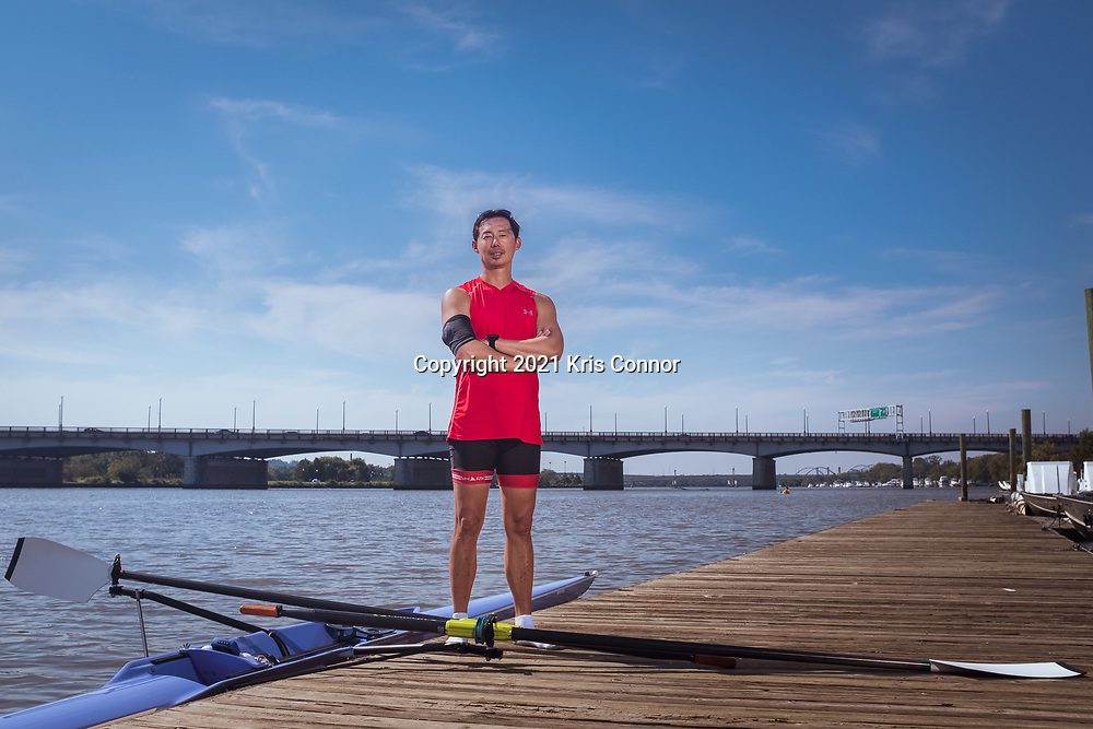 Competitive rower and sculler Michael Harrison Hsieh is prepares to go out for a row at the Anacostia Community Boathouse in Washington DC on October 3rd, 2021. Phot by Kris Connor