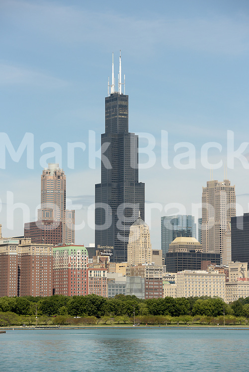 The Willis Tower also know as the Sears tower and the  Chicago Skyline along Lake Michigan in Chicago, Illinois.<br /> Photo by Mark Black