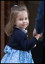 April 23, 2018 - London, London, United Kingdom - Image licensed to i-Images Picture Agency. 23/04/2018. London, United Kingdom. Princess Charlotte arriving with her father the Duke of Cambridge and brother Prince George as the the Duchess of Cambridge after the birth of the royal baby at the Lindo Wing of St.Mary's hospital in London  (Credit Image: © Stephen Lock/i-Images via ZUMA Press)