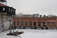 Rooftop of a converted warehouse building in DUMBO Brooklyn New York