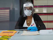 A poll worker wears protective gear to guard against the spread of COVID-19 at a voting center in Baltimore. On April 28, 2020 a special election was held to fill the remainder of the term in the US House of Representatives for Maryland's 7th congressional district in the 116th U.S. Congress. Elijah Cummings, the incumbent representative, died in office on October 17, 2019.