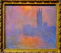 France, Paris (75), zone classée Patrimoine Mondial de l'UNESCO, Musée d'Orsay, Londres, le Parlement. Trouée de soleil dans le brouillard, Claude Monet // France, Paris, Orsay museum, London, le Parlement. Trouée de soleil dans le brouillard, Claude Monet