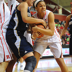 Rutgers Scarlet Knights guard Nikki Speed (11) forces a turnover by jump ball on Notre Dame Fighting Irish forward Natalie Achonwa (11) during first half NCAA Big East women's basketball action between Notre Dame and Rutgers at the Louis Brown Athletic Center. Notre Dame leads 40-23 at halftime.