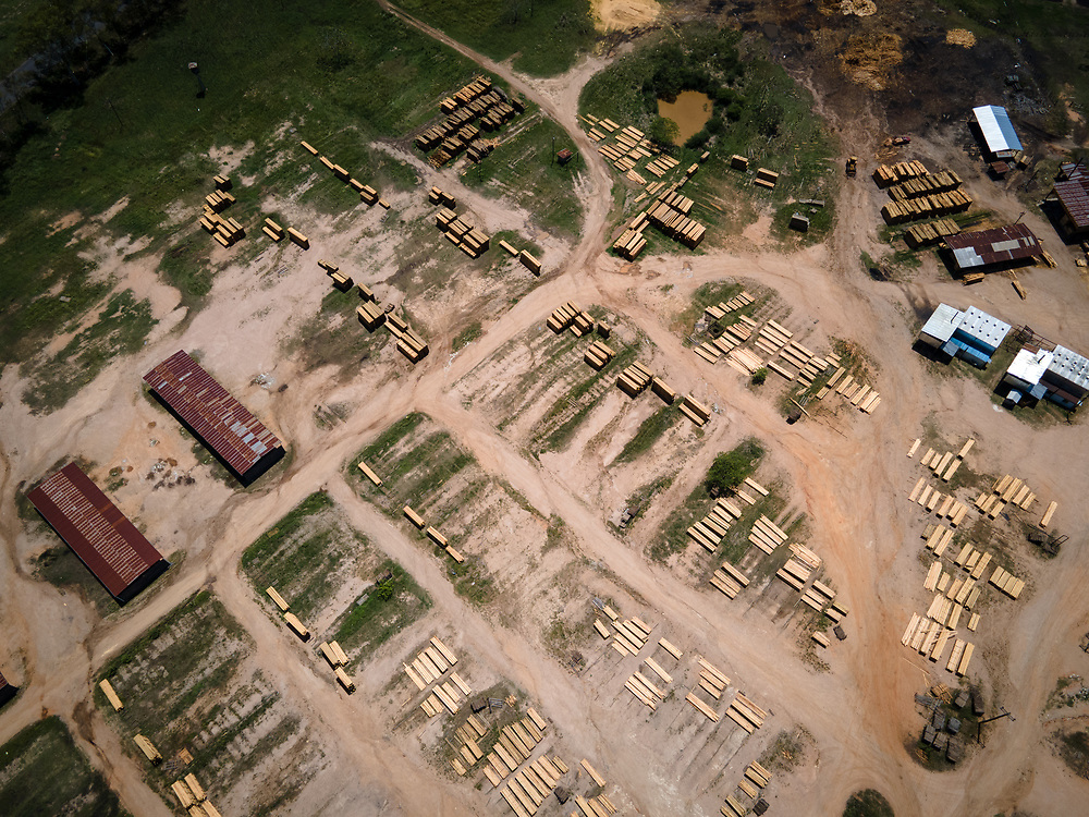 Aerial view of a logmill in Francisco Morazán, Honduras. A series of large logmills line the road to Olancho, cutting up much of the illegally logged round wood that is cut in Olancho.