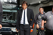 Chelsea manager Antonio Conte arrives off the team bus ahead of the game. Premier league match, Swansea city v Chelsea at the Liberty Stadium in Swansea, South Wales on Sunday 11th Sept 2016.<br /> pic by  Andrew Orchard, Andrew Orchard sports photography.