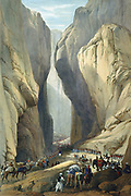 First Anglo-Afghan War 1838-1842: British army entering the Bolan Pass from Dadur. From J Atkinson 'Sketches in Afghanistan' London 1842. Hand-coloured lithograph.