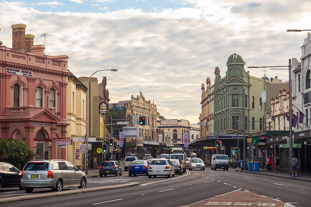 the convergance of enmore and erskinville with king street, newtown, sydney