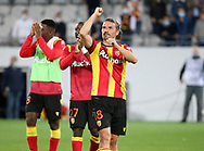 Yannick Cahuzac of Lens celebrates with teammates the victory following the French championship Ligue 1 football match between RC Lens (Racing Club de Lens) and Paris Saint-Germain (PSG) on September 10, 2020 at Stade Felix Bollaert in Lens, France - Photo Juan Soliz / ProSportsImages / DPPI