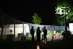 © Licensed to London News Pictures. 04/06/2019. London, UK. General View of the perimeter fence and check point erected to control access to Winfield House in Regent's Park. US President Donald Trump and First Lady Melania Trump hosted a dinner at the ambassador's residence, bringing to a conclusion day two of the official state visit.  Photo credit: Guilhem Baker/LNP