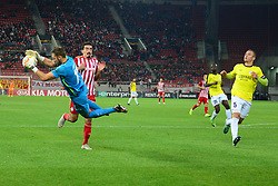 November 8, 2018 - Athens, Attiki, Greece - Goalkeeper of F91 Dudelange Landry Bonnefoi (no 12) catch the ball in front of Lazaros Christodoulopoulos (no 11) of Olympiacos..Olympiacos has won F91 Dudelange 5-1 for the UEFA Europa League. (Credit Image: © Dimitrios Karvountzis/Pacific Press via ZUMA Wire)