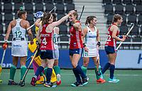 AMSTELVEEN - Lily Owsley (Eng) heeft gescoord   tijdens de wedstrijd dames , Ierland-Engeland (1-5) bij het  EK hockey , Eurohockey 2021.COPYRIGHT KOEN SUYK