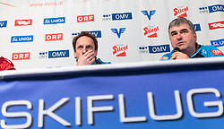 14.01.2016, Kulm, Bad Mitterndorf, AUT, FIS Skiflug WM, Kulm, Pressekonferenz, im Bild v.l.: Cheftrainer Heinz Kuttin (AUT) und Rennleiter Harald Haim (rechts) bei einer Pressekonferenz über den Gesundheitszustand von Lukas Müller der beim Einfliegen schwer gestürzt ist // f.l.: Headcoach Heinz Kuttin of Austria and Race Director Harald Haim during a Pressconference about the Crash of Austrian Jumper Lukas Mueller of FIS Ski Flying World Championships at the Kulm, Bad Mitterndorf, Austria on 2016/01/14, EXPA Pictures © 2016, PhotoCredit: EXPA/ JFK