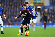 David Silva of Manchester City gets away from Gareth Barry of Everton. Premier league match, Everton v Manchester City at Goodison Park in Liverpool, Merseyside on Sunday 15th January 2017.<br /> pic by Chris Stading, Andrew Orchard sports photography.