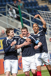 Falkirk's Thomas Scobie celebrates after scoring their first goal,.Half time, Falkirk 1 v 0 Ayr United, 5/5/2012..©Michael Schofield..