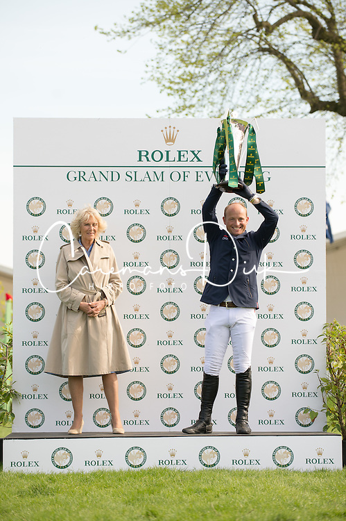 Rolex Grand Slam Trophy presented to Michael Jung by Camilla, Duchess of Cornwall<br /> CCI4* - Mitsubishi Motors Badminton Horse Trials 2016<br /> © Hippo Foto - Jon Stroud<br /> 06/05/16