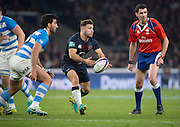 Twickenham, United Kingdom. Danny CARE, Releasing the ball for his pass, during the Old Mutual Wealth Series Rest Match: England vs Argentina, at the RFU Stadium, Twickenham, England, <br /> <br /> Saturday  26/11/2016<br /> <br /> [Mandatory Credit; Peter Spurrier/Intersport-images]