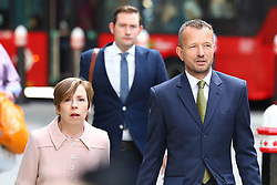 © Licensed to London News Pictures. 18/07/2018. London, UK. BBC journalist Dan Johnson (R) and former BBC Director of News and Current Affairs Fran Unsworth (L) arrive at the Rolls Building of the High Court in London where judges will deliver their decision on Sir Cliff Richard's claim for damages against the BBC for loss of earnings. The 77-year-old singer is suing the corporation after his home in Sunningdale, Berkshire was raided following allegations of sexual assault made to Metropolitan Police. Photo credit: Rob Pinney/LNP