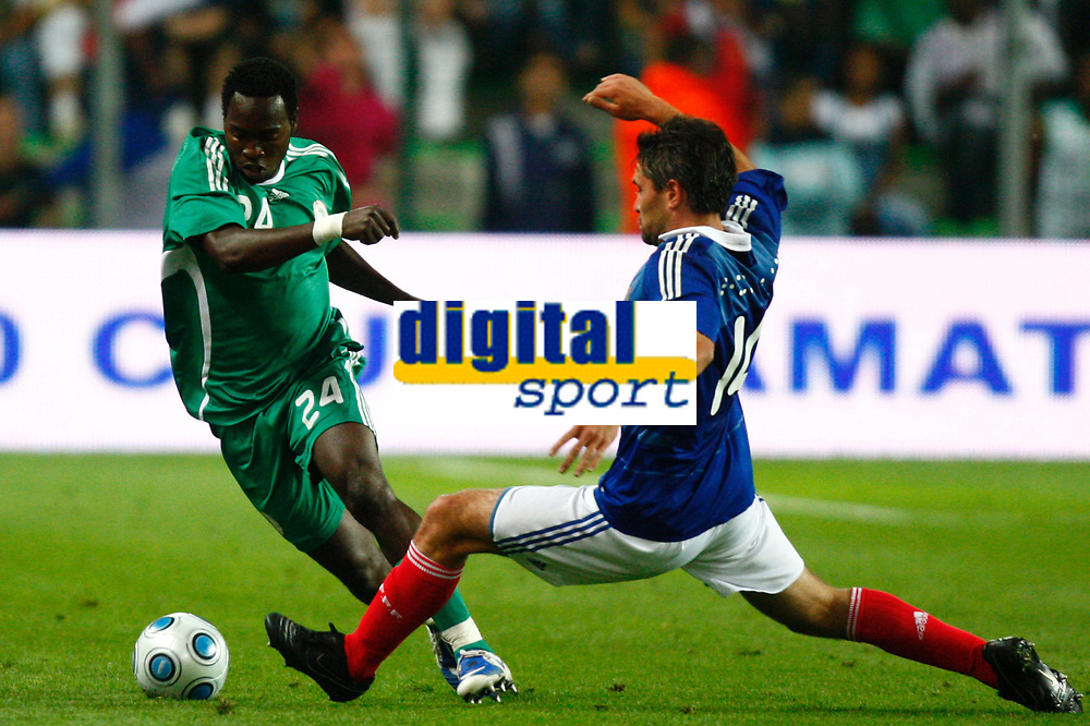 Fotball<br /> Frankrike v Nigeria<br /> Foto: DPPI/Digitalsport<br /> NORWAY ONLY<br /> <br /> FOOTBALL - FRIENDLY GAMES 2008/2009 - FRANCE v NIGERIA - 2/06/2009 <br /> <br /> OBINNA NWANERI (NIG) / JEREMY TOULALAN (FRA)