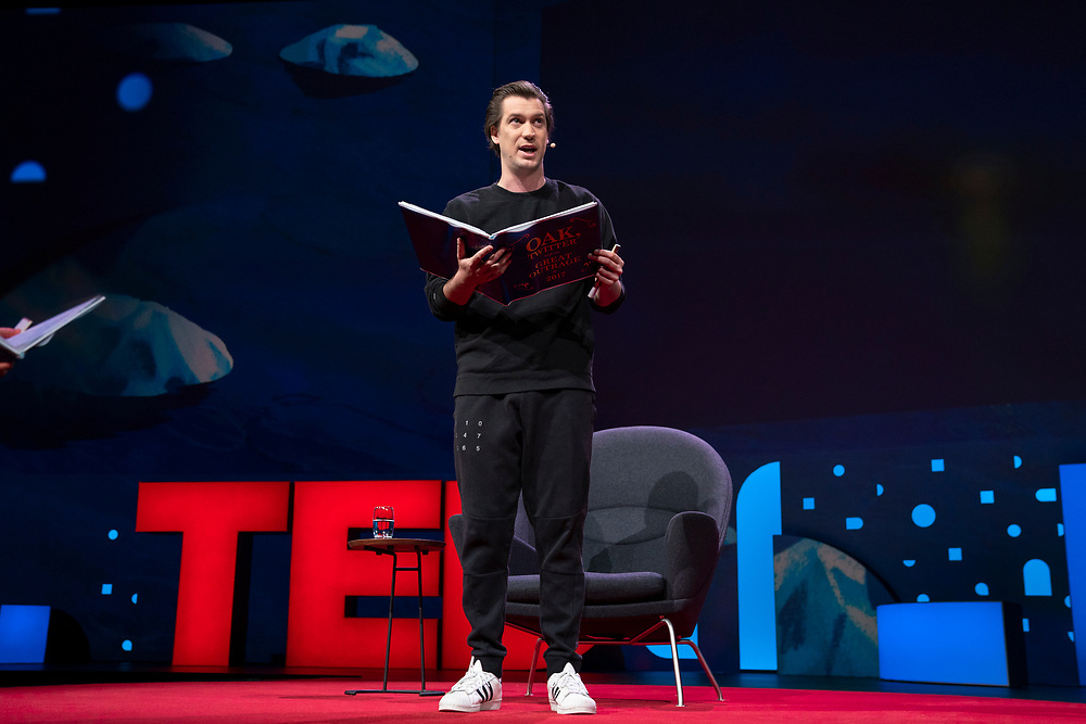 Rafael Casal speaks at TED2019: Bigger Than Us. April 15 - 19, 2019, Vancouver, BC, Canada. Photo: Bret Hartman / TED