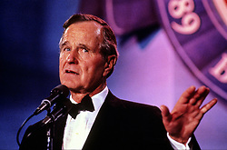 United States President George H.W. Bush makes remarks at an Inaugural Ball on Inauguration Day, January 20, 1989 in Washington, DC. Photo by Pam Price / Pool via CNP /ABACAPRESS.COM