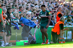 Leicester Tigers centre Manu Tuilagi leaves the field dejected after taking a knock in the final minutes - Photo mandatory by-line: Patrick Khachfe/JMP - Tel: Mobile: 07966 386802 - 21/09/2013 - SPORT - RUGBY UNION - Welford Road Stadium - Leicester Tigers v Newcastle Falcons - Aviva Premiership.