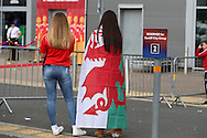 Wales fans arrive ahead of the match.Wales v Georgia , FIFA World Cup qualifier, European group D match at the Cardiff city Stadium in Cardiff on Sunday 9th October 2016. pic by Andrew Orchard, Andrew Orchard sports photography