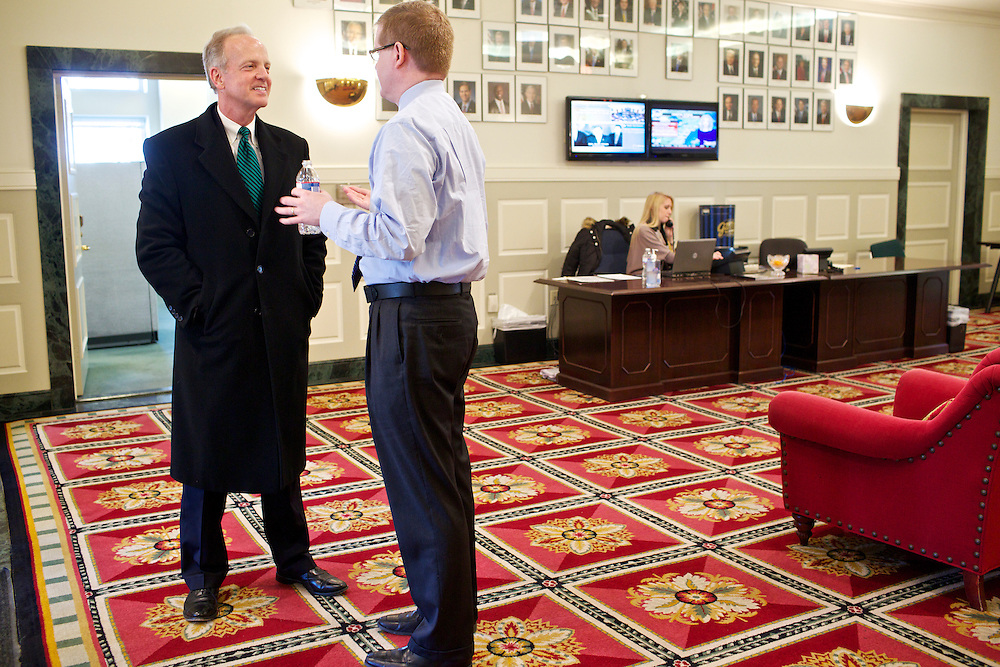 U.S. Sen. Jerry Moran (R-KS) was elected Chairman of the National Republican Senatorial Committee. Moran, left, talks to National Republican Senatorial Committee Executive Director Rob Collins at the Ronald Reagan Republican Center on Thursday, March 7, 2013.
