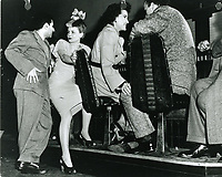 1945 (L to R) Sidney Skolsky, Janet Blair, Maxine Andrews & Lou Levy at Schwab's Drugstore<br /> S