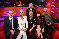 (Left to right) Rowan Atkinson, Jamie Lee Curtis, Gary Barlow, Imelda May and Jeff Goldblum with host Graham Norton during the filming of the Graham Norton Show at BBC Studioworks 6 Television Centre, Wood Lane, London, to be aired on BBC One on Friday evening.