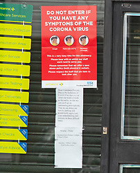 ©Licensed to London News Pictures 02/04/2020  <br /> Bexley, UK. A notice in the window. A Chemist in Bexley village, Bexley, Greater London has had to closed for two and a half hours (12.00-2.30pm) Monday to Friday to catch up with the workload of outstanding prescriptions due to the covid-19 crisis. Photo credit:Grant Falvey/LNP