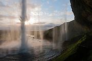 Seljalandsfoss waterfall in the midnight sun, Iceland