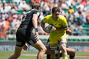 Twickenham, United Kingdom. 3rd June 2018, HSBC London Sevens Series. Game 38 Cup Semi Final. New Zealand vs Australia <br /> <br /> Australian, Lachie ANDERSON, looking to make a pass during Rugby 7's match played at the  RFU Stadium, Twickenham, England, <br /> <br /> <br /> <br /> © Peter SPURRIER/Alamy Live News