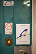 "The door to a cell at HMP Kingston, Portsmouth, United Kingdom. There is a sign reading ""caution!! Bird loose in cell"". Kingston prison is a category C prison holding indeterminate sentenced prisoners."