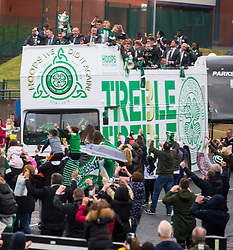 Celtic players celebrate winning the Treble Treble on an open top bus after the William Hill Scottish Cup Final at Hampden Park, Glasgow.
