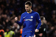 Eden Hazard of Chelsea celebrates after scoring the winning penalty in the penalty shoot out. The Emirates FA Cup, 3rd round replay match, Chelsea v Norwich City at Stamford Bridge in London on Wednesday 17th January 2018.<br /> pic by Steffan Bowen, Andrew Orchard sports photography.