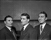 14/01/1953<br /> 01/14/1953<br /> 14 January 1953<br /> Corinthians Boxing Club, Dublin. (l-r) Mick McKeon; Matt McKeon and Vincent McKeon.