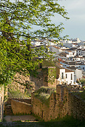 View of town from top of stone steps, Ronda, Andalusia, Spain