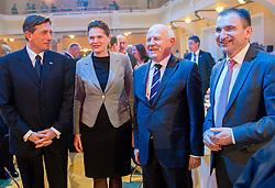 Borut Pahor, Alenka Bratusek, Janez Kocijancic and Janko Veber during presentation of Team Slovenia for Sochi 2014 Winter Olympic Games on January 22, 2014 in Grand Hotel Union, Ljubljana, Slovenia. Photo by Vid Ponikvar / Sportida