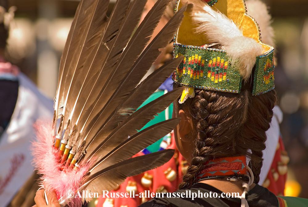 Traditional dancer, Crow Fair, powwow, eagle fan, Crow Indian Reservation, Montana
