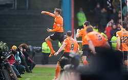 Dundee United's Blair Spittal cele scoring their goal. <br /> Half time : Dundee 1 v 1  Dundee United, SPFL Ladbrokes Premiership game played 2/1/2016 at Dens Park.