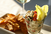 Alaskan halibut ceviche, pico de gallo, lime and spiced tortillas paired with a Viu Manent chardonnay from Chile. <br /> By John Lok / The Seattle Times