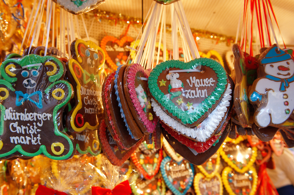 Christmas market stalls food with traditional biscuits, Nuremburg, Germany
