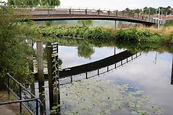River Wensum, Norwich - maximum height under bridge sign to warn boats. UK. Peter's Bridge
