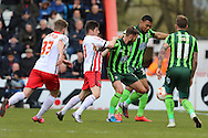 Darius Charles defender for AFC Wimbledon (32) during the Sky Bet League 2 match between Stevenage and AFC Wimbledon at the Lamex Stadium, Stevenage, England on 30 April 2016. Photo by Stuart Butcher.