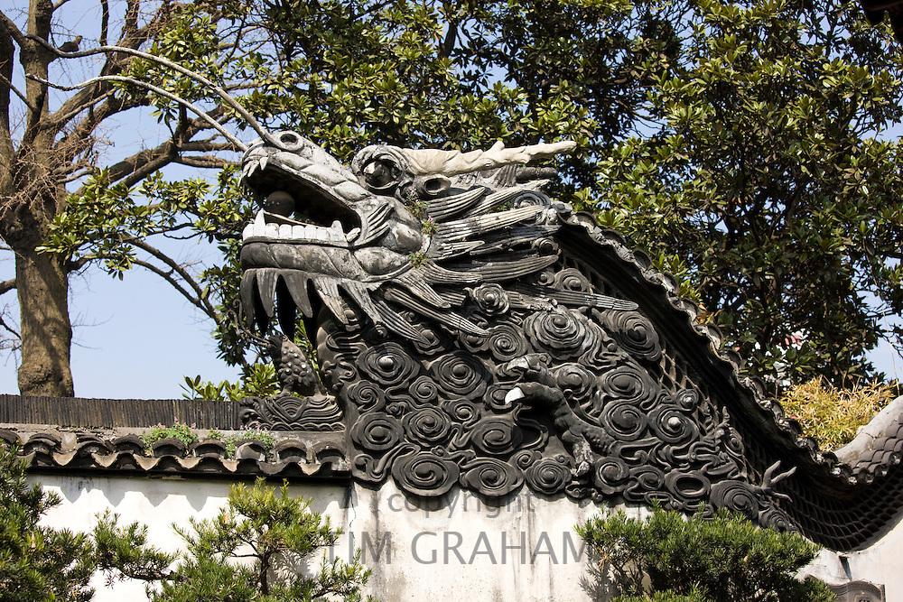Dragon wall in the Yu Gardens, Shanghai, China