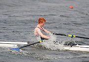 Holme Pierrepont,  GREAT BRITAIN,  S BLAKE  Hereford RC  A boat, overcomes the conditions in the Championship Boys' Single Sculls, at the 2008 National Schools Regatta, Nottingham, , ENGLAND,    Saturday,  24/05/2008  [Mandatory Credit:  Peter Spurrier/Intersport Images]