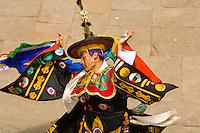 Black hat dance, Paro Tsechu (festival), Paro Dzong, Paro, Bhutan